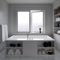 Soaking Tub with Built-In Storage