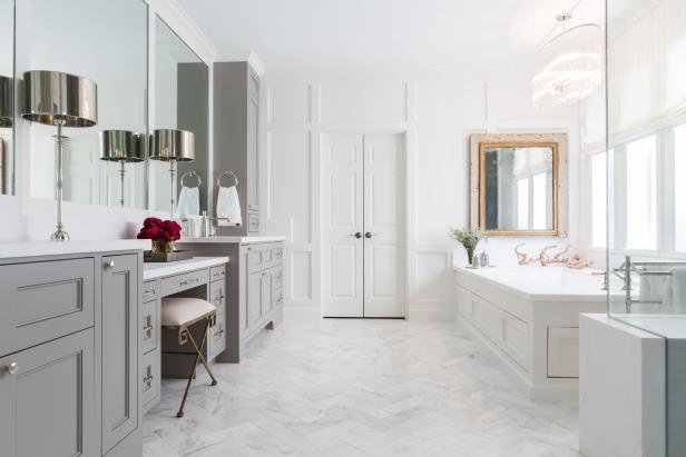 White and Gray Spa Bathroom