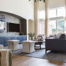 Transitional Living Room With Blue Cabinets