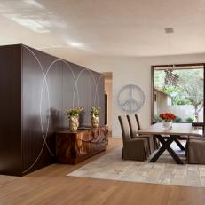Contemporary Dining Room With Peace Sign