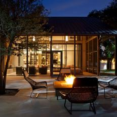 Patio and House Exterior at Night