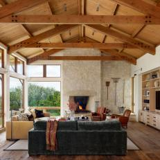 Rustic Living Room With Exposed Beams