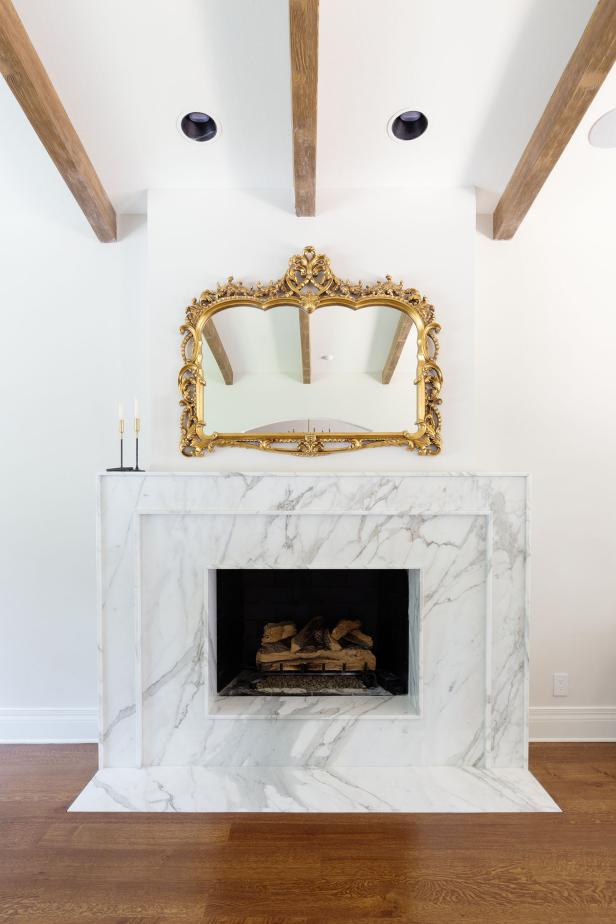 Marble Fireplace and Mirror