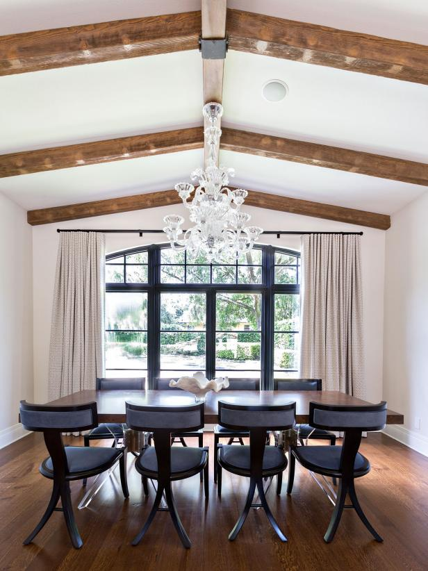Dining Room With Glass Chandelier