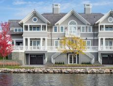 Gray and White Lake Home Exterior