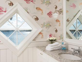 Coastal Bathroom With Fish Wallpaper