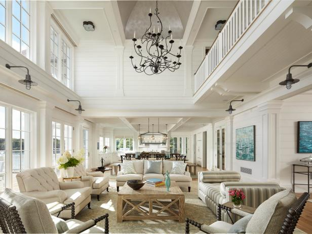 great living room ideas. Neutral Transitional Great Room With Lake View Decorating and Design Ideas with Pictures  HGTV