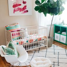 Multicolored Tropical Nursery With Houseplant