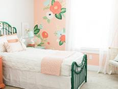 Girl's Bedroom With Sweet, Pink Floral Wallpaper