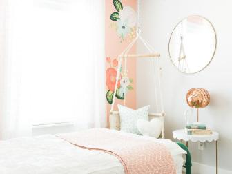 Boho Girl's Room with Floral Wallpaper