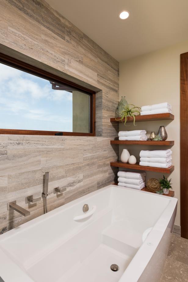Modern Floating Shelves Over White Bathtub With Neutral