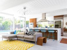 Open-Concept Living Room Layered With Color