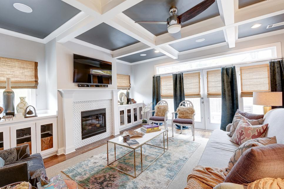 Coffered ceilings and blended patterns are the stars of - Modern pictures for living room ...
