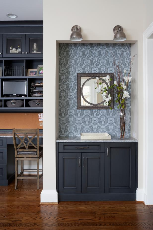 Gray Wallpapered Accent Wall