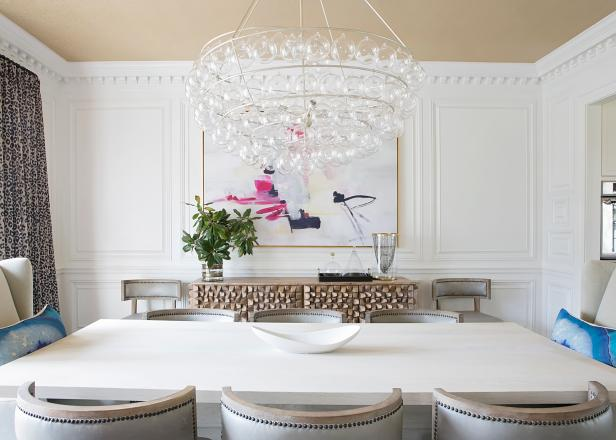 Dining Room With Leopard Curtains