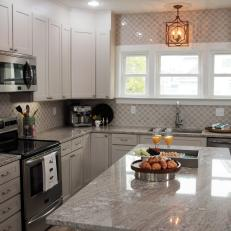 Gray Contemporary Kitchen with Gray Marble Countertops