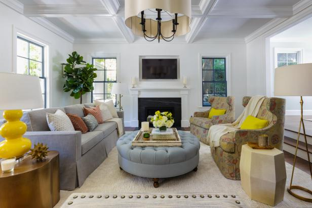 Gray Living Room With Yellow Lamp