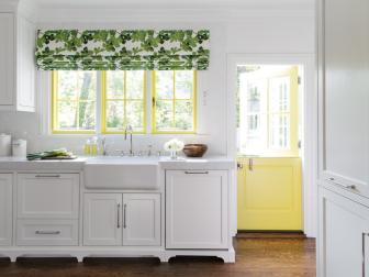 Country Kitchen With Yellow Door