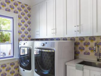 Laundry Room With Purple Wallpaper