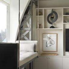 Steel Beams, Hanging Daybed Offer Loft-Like Feel in Penthouse