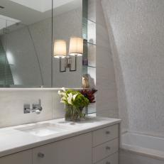 Marble Tile Highlights Curved Bathroom Wall