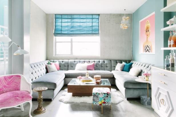 Girly Glam Living Space with Sectional for Seating