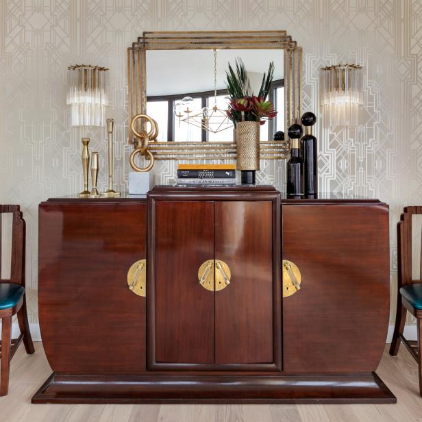 Cabinet and Art Deco Wallpaper