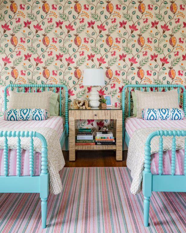 Eclectic Multicolored Girls' Bedroom