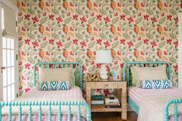 Eclectic Girls' Bedroom With Accent Wall