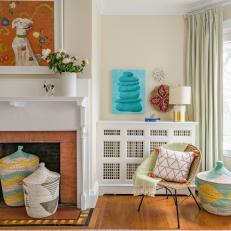 Multicolored Eclectic Girls' Bedroom With Baskets
