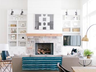 White Transitional Living Room With Blue Throw