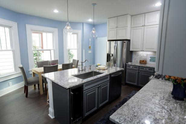 Blue Kitchen with Gray Tile Backsplash and Island