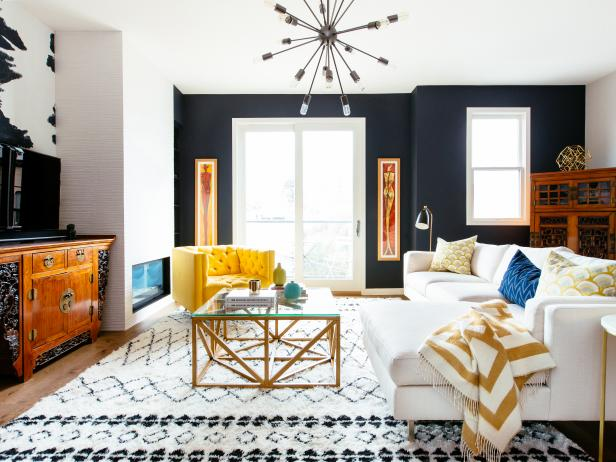 Contemporary Living Room With Navy Wall