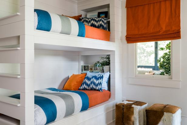 Orange Meets Midcentury Modern In This Bunk Room