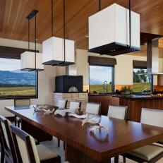 Brown Modern Dining Room and Kitchen