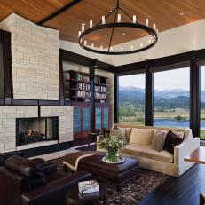 Brown Contemporary Living Room With Mountain View