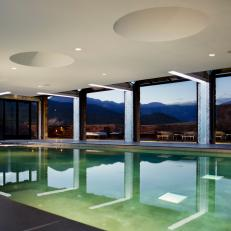 Indoor Swimming Pool at Twilight