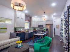 Contemporary Neutral Kitchen/Living Room with Recessed Lighting