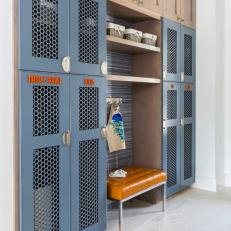 Transitional Mudroom With Gray Lockers