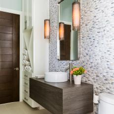 Powder Room With Pebbled Wall