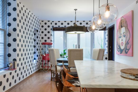 Eclectic Kitchen Includes Polka Dots, Popcorn Maker