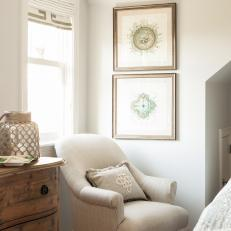 White Bedroom Reading Nook With Armchair and Weathered Chest