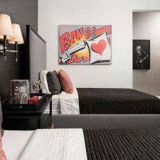 Black and Gray Bedroom With Pop Art