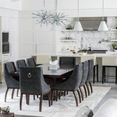 White Contemporary Open Kitchen and Dining Room