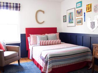 Red White and Blue Bedroom With Board and Batten Molding