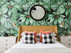 Palm Print Wallpaper in Guest Bedroom