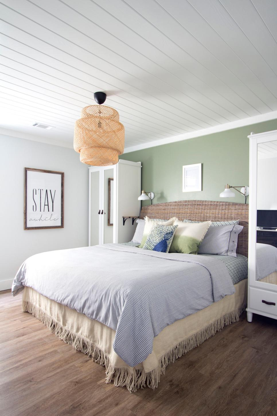 Beach Bedroom in Gray and Sage Green With Wicker Headboard