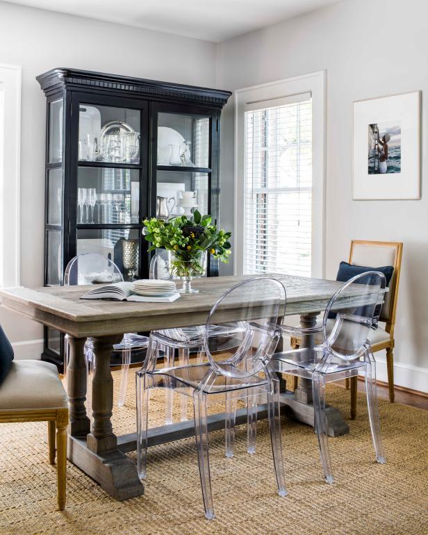 Eclectic Dining Room Sets: Eclectic Dining Room With Weathered Table And Acrylic