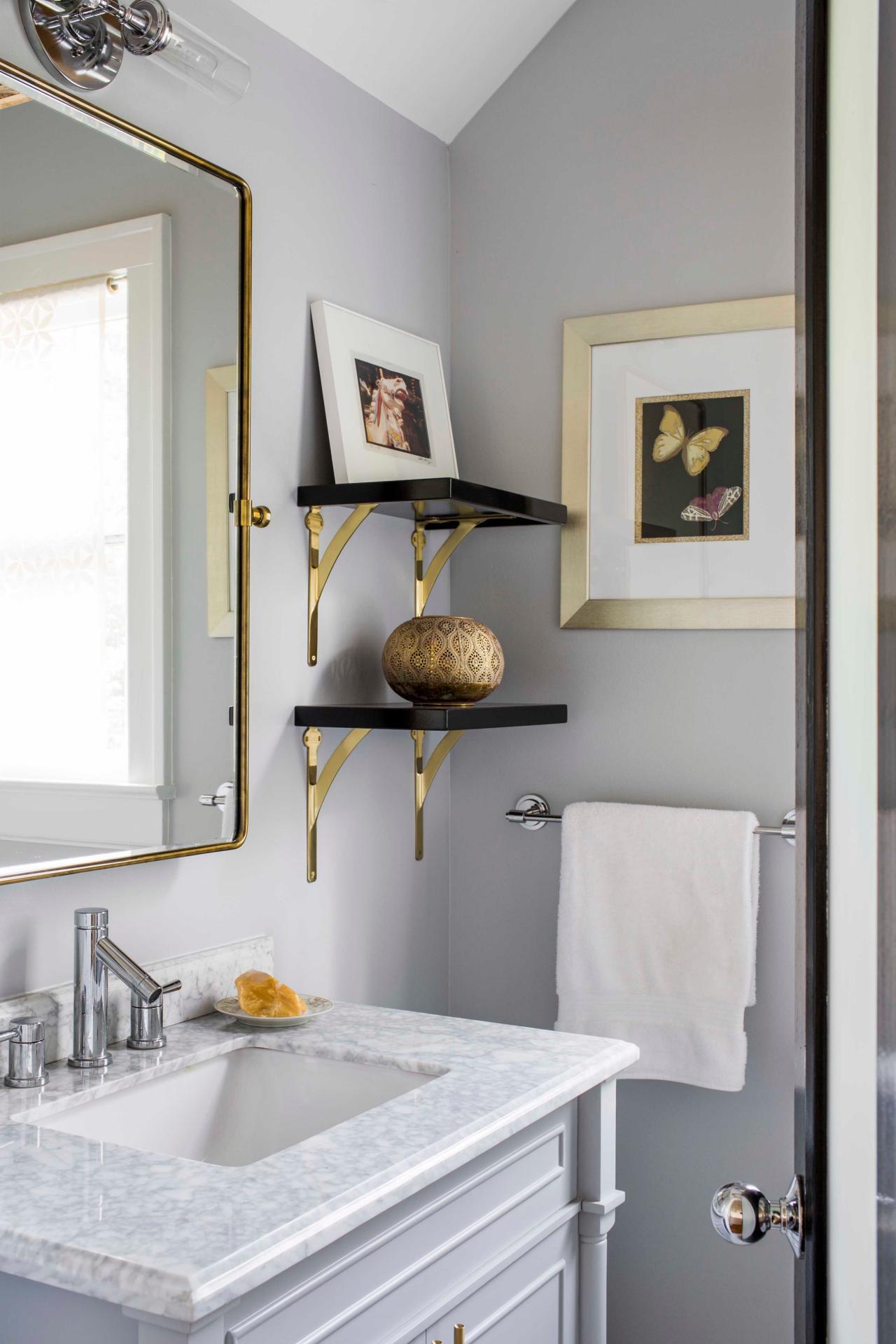 Small Light Gray Single Vanity Bathroom With Exposed Beams