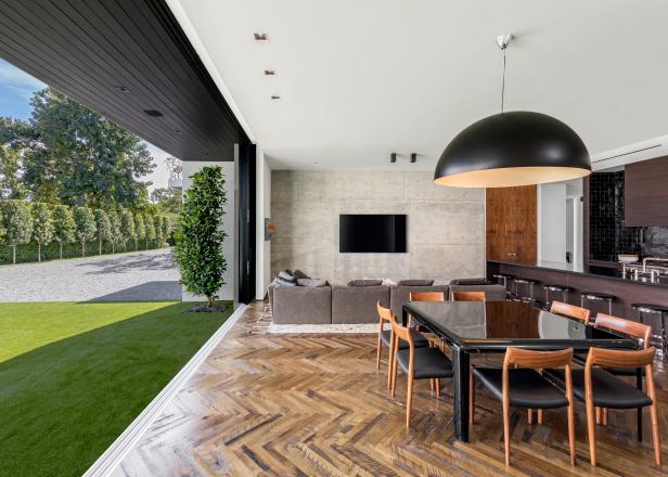 Contemporary Living Room and Dining Room